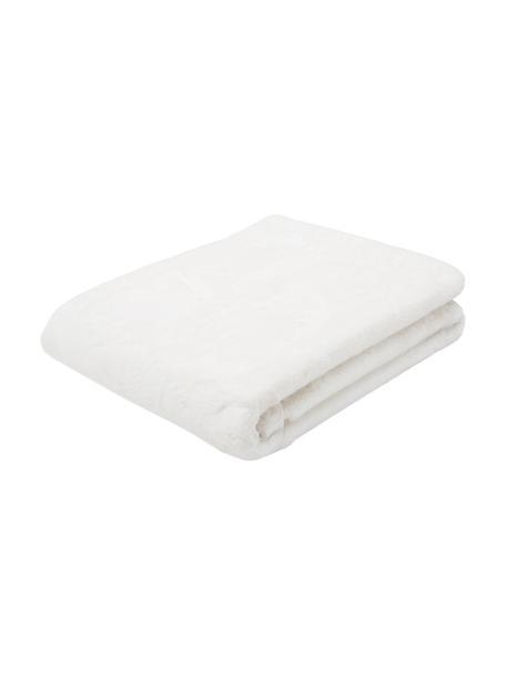 Plaid in ecopelliccia color crema Mette, Retro: 100% poliestere, Crema, Larg. 150 x Lung. 200 cm