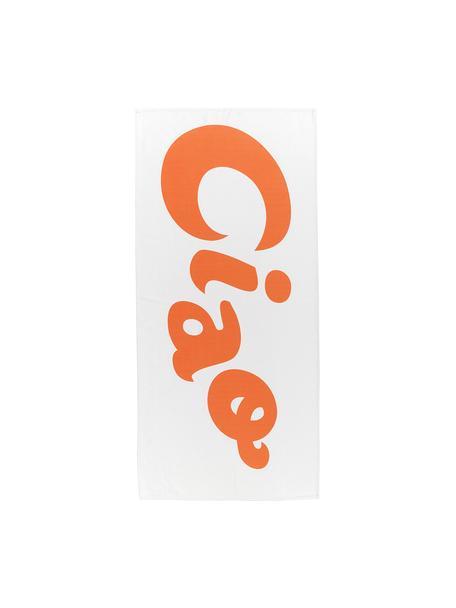 Telo mare leggero con scritta Ciao, 55% poliestere, 45% cotone, qualità molto leggera 340 g/m², Bianco, arancione, Larg. 70 x Lung. 150 cm
