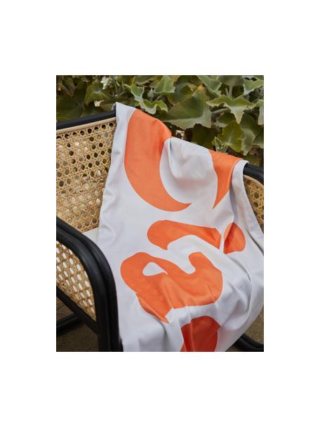 Leichtes Strandtuch Ciao mit Schriftzug, 55% Polyester, 45% Baumwolle Sehr leichte Qualität, 340 g/m², Weiß, Orange, 70 x 150 cm