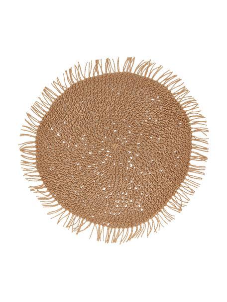 Runde Tischsets Tressine aus Papierfasern, 6 Stück, Geflochtene Papierfasern, beige, Ø 38 cm
