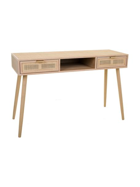 Wandtafel Cayetana van hout, Frame: gefineerd MDF, Handvatten: metaal, Poten: gelakt bamboehout, Bruin, 120 x 76 cm