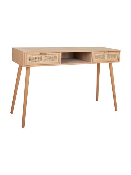 Scrivania in legno Cayetana, Maniglie: metallo, Piedini: legno di bambù verniciato, Marrone, Larg. 120 x Alt. 76 cm