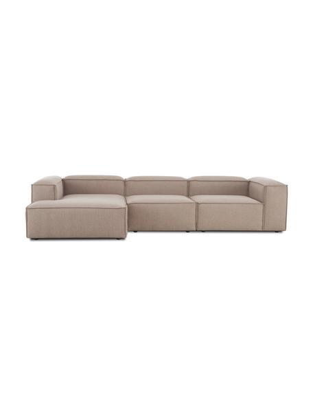 Narożna sofa modułowa Lennon, Tapicerka: 100% poliester Dzięki tka, Stelaż: lite drewno sosnowe, skle, Nogi: tworzywo sztuczne Nogi zn, Brązowy, S 327 x G 180 cm