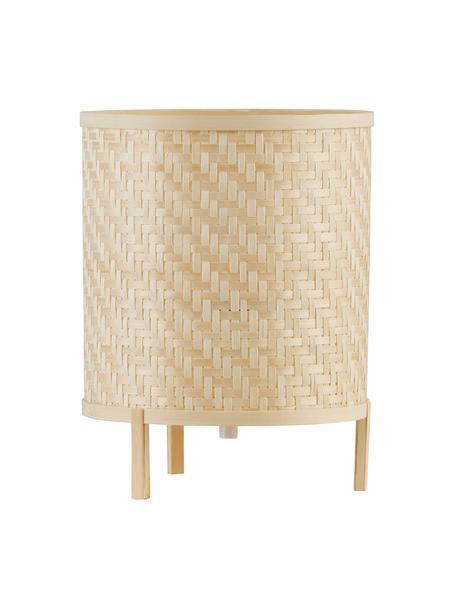 Kleine nachtlampje Trinidad van bamboehout, Lampenkap: bamboehouten vlechtwerk, Lampvoet: bamboehout, Bruin, Ø 19 x H 25 cm