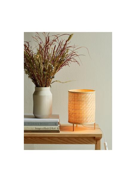 Lámpara de mesa pequeña de bambú Trinidad, Pantalla: tejido de bambú, Base de la lámpara: bambú, Cable: plástico, Marrón, Ø 19 x Al 25 cm