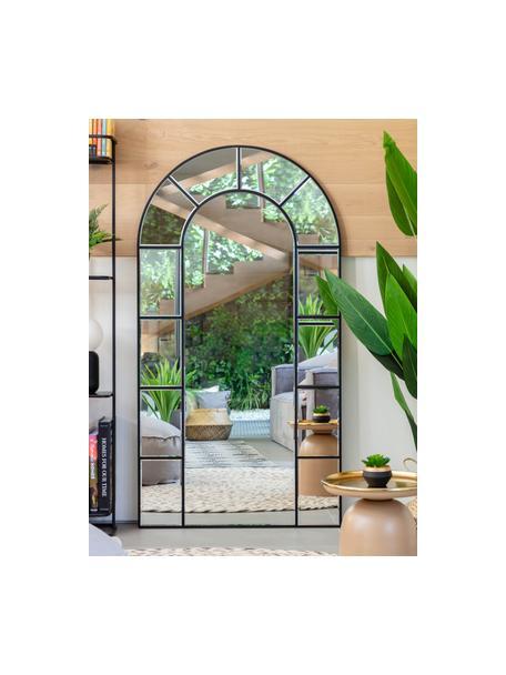 Leunende spiegel Nediva met zwarte houten lijst, Lijst: gecoat MDF, Zwart, 88 x 165 cm