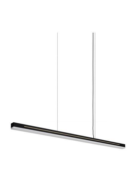 Grote LED hanglamp Skylar in zwart, Lampenkap: gecoat aluminium, Diffuser: kunststof, Baldakijn: gecoat aluminium, Zwart, 115 x 4 cm