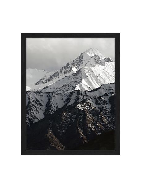 Ingelijste digitale print Snow Mountain, Afbeelding: digitale print op papier,, Lijst: gelakt hout, Zwart, wit, 43 x 53 cm