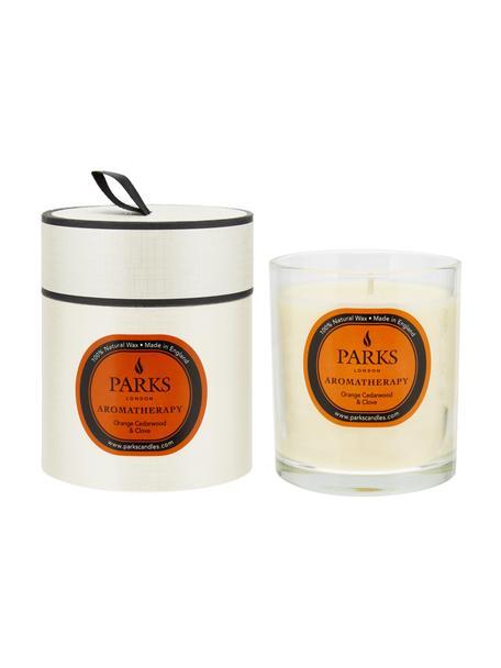 Świeca zapachowa Aromatherapy (pomarańcza, drewno sandałowe i goździk), Transparentny, biały, pomarańczowy, Ø 8 x W 9 cm
