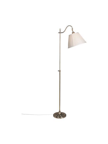 Vloerlamp Charleston met antieke afwerking, Lampenkap: textiel, Lampvoet: gecoat metaal, Beige, koperkleurig, 50 x 167 cm
