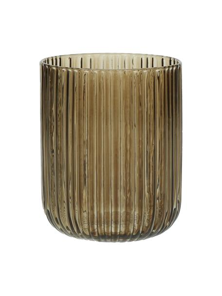 Wassergläser Canise in Braun mit Rillenstruktur, 6 Stück, Glas, Bernsteinfarben, Ø 8 x H 9 cm