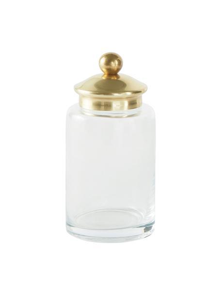 Opbergpot Dorotea, Pot: glas, Deksel: gecoat metaal, Messingkleurig, transparant, Ø 6 x H 10 cm