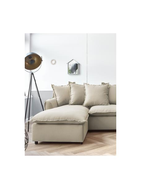 Sofá cama rinconero Mona, con espacio de almacenamiento, Tapizado: 100%poliéster, repelente, Estructura: madera aglomerado, Patas: plástico, Color arena, An 230 x F 170 cm
