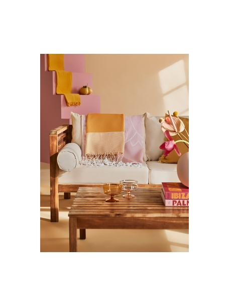 Hamamdoek Ibiza, Katoen, zeer lichte kwaliteit, 200 g/m², Safraangeel, wit, 100 x 200 cm