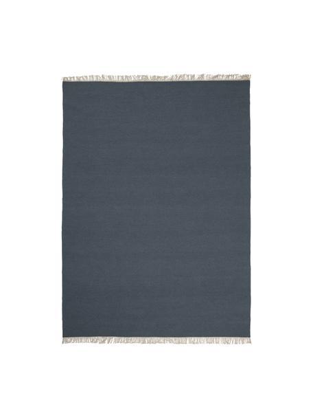 Handgeweven wollen vloerkleed Rainbow in blauw met franjes, Franjes: 100% katoen, Donkerblauw, B 140 x L 200 cm (maat S)