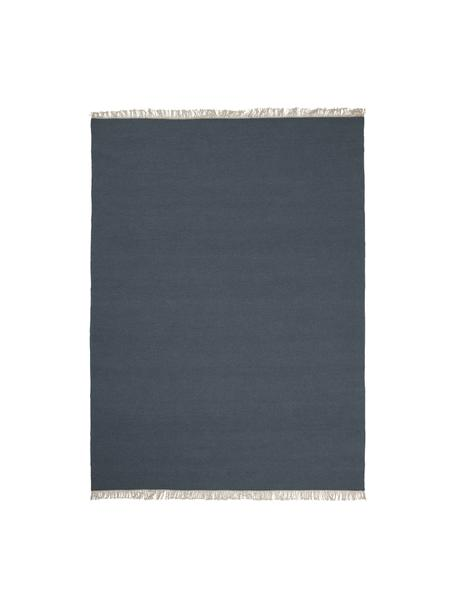 Tappeto in lana tessuto a mano con frange Rainbow, Frange: 100% cotone, Blu scuro, Larg. 140 x Lung. 200 cm (taglia S)