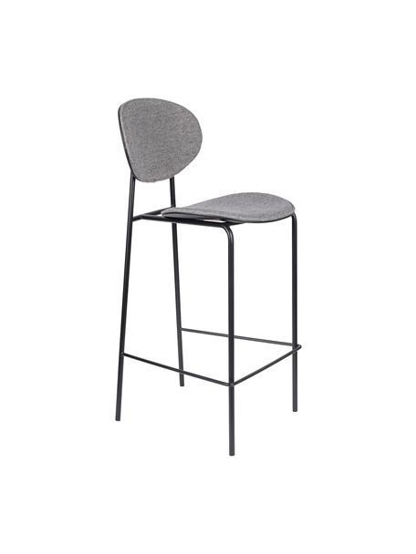 Barkrukken Donny, 2 stuks, Bekleding: polyester, Frame: gepoedercoat metaal, Grijs, zwart, B 39 x D 49 cm