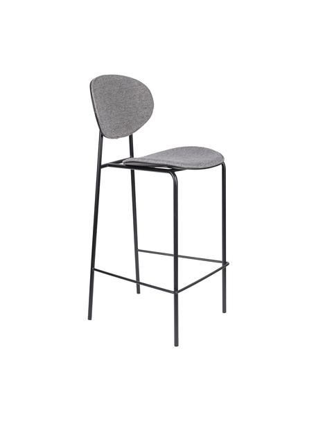 Barkrukken Donny in grijs, 2 stuks, Bekleding: polyester, Frame: gepoedercoat metaal, Grijs, zwart, 39 x 96 cm