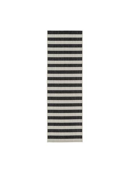 Gestreepte in- & outdoor loper Axa in zwart/wit, 86% polypropyleen, 14% polyester, Crèmewit, zwart, 80 x 250 cm