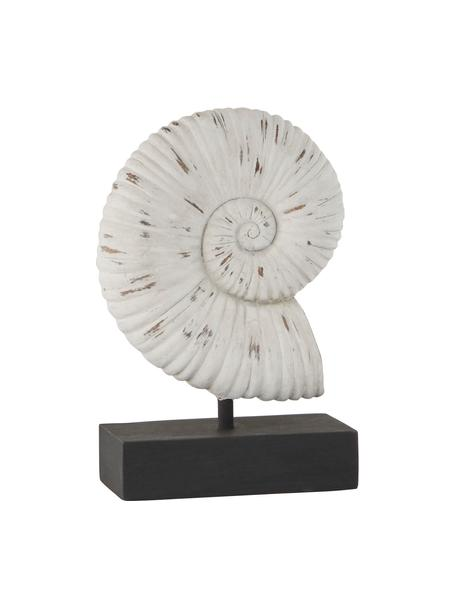 Handgemaakt decoratief object Serafina Shell, Kunststof, Wit, zwart, 15 x 24 cm