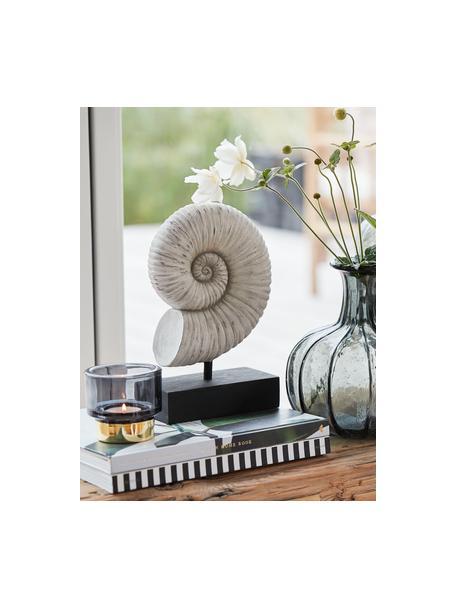 Handgefertigtes Deko-Objekt Serafina Shell, Kunststoff, Weiß, Schwarz, 15 x 24 cm