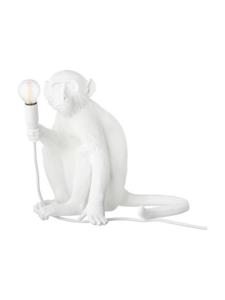 Lámpara de mesa para exterior de diseño Monkey, con enchufe, Lámpara: resina, Cable: plástico, Blanco, An 34 x Al 32 cm