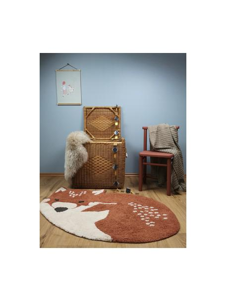 Tappeto volpe in cotone Little Wolf, Cotone, Rosso, beige, Larg. 110 x Lung. 70 cm