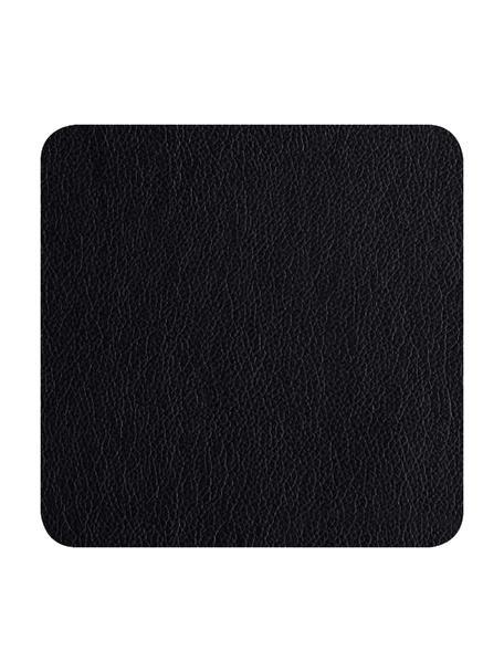 Vierkante kunstleren onderzetters Pik in zwart, 4 stuks, Kunstleer (PVC), Zwart, 10 x 10 cm