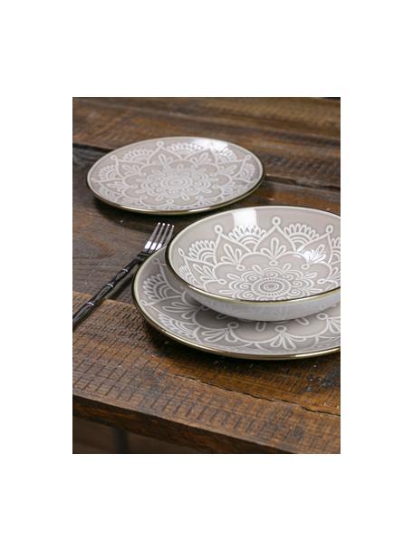 Set piatti per 6 persone Baku (18 pezzi), Ceramica, Greige, Set in varie misure