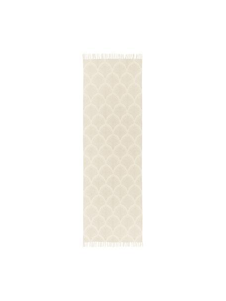 Alfombra de tejido plano de algodón con flecos Klara, Beige, An 80 x L 250 cm