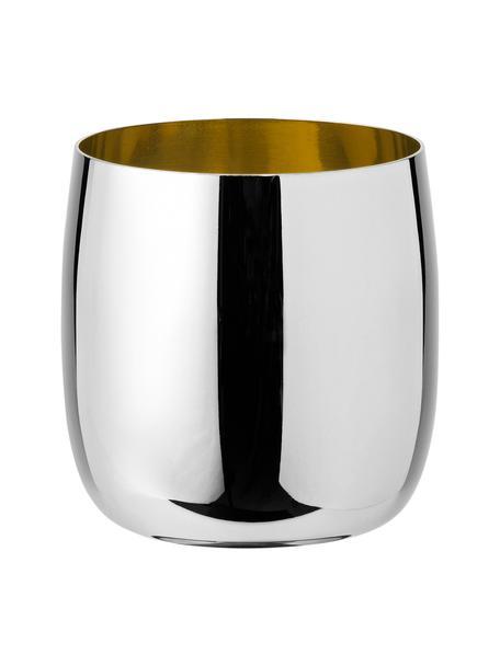 Vaso de vino de diseño Foster, Exterior: Acero inoxidable, espejo , Interior: Acero inoxidable con barn, Acero inoxidable, dorado, Ø 8 x Al 8 cm