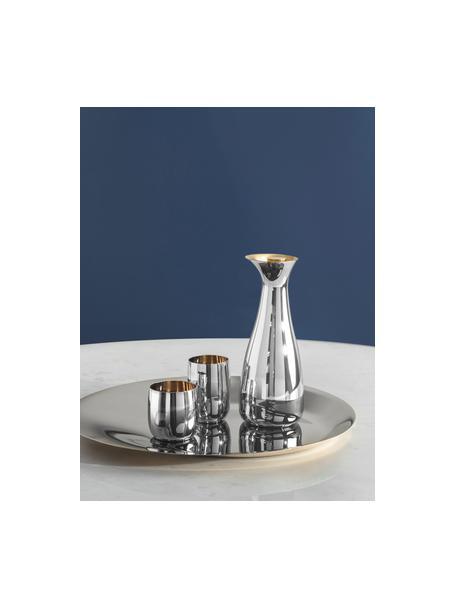 Bicchiere vino di design color argento/oro Foster, Esterno: acciaio inossidabile luci, Interno: acciaio inossidabile con , Esterno: acciaio inossidabile lucido Interno: dorato, Ø 8 x Alt. 8 cm