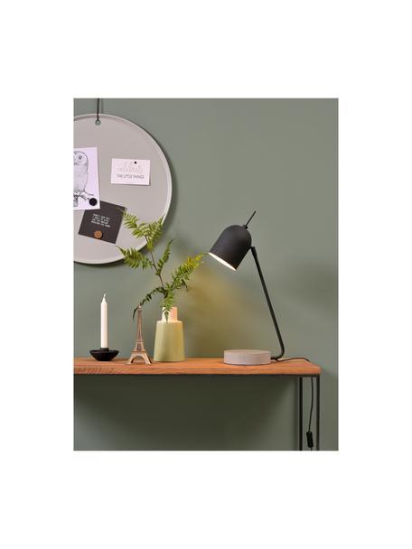 Große Schreibtischlampe Madrid mit Betonfuß, Lampenschirm: Metall, beschichtet, Lampenfuß: Beton, Schwarz, Zement, 22 x 57 cm