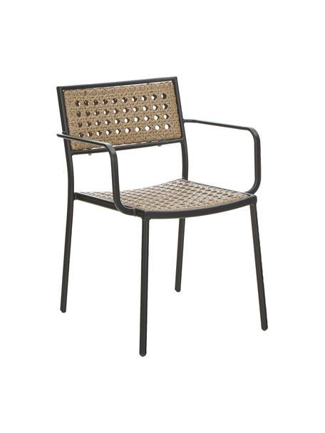 Sedia da giardino in rattan artificiale Paola, Struttura: metallo verniciato a polv, Nero, beige, Larg. 56 x Prof. 59 cm