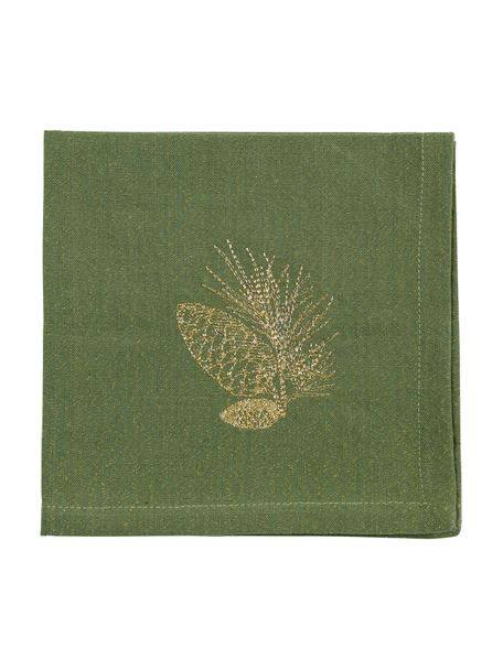 Stoff-Servietten Epicea, 2 Stück, Baumwolle, Lurex, Grün, Goldfarben, 40 x 40 cm