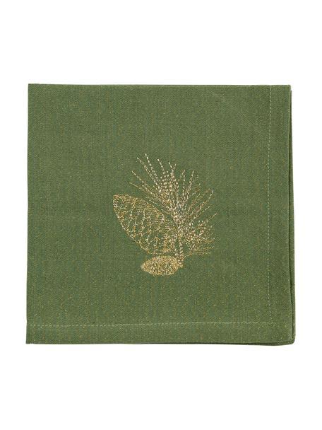 Stoffen servetten Epicea, 2 stuks, Katoen, Lurex, Groen, goudkleurig, 40 x 40 cm