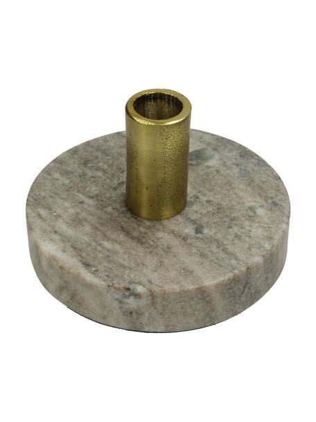 Marmor-Kerzenhalter Linda, Fuß: Marmor, Kerzenhalter: Aluminium, beschichtet, Beige, Messingfarben, Ø 13 x H 8 cm