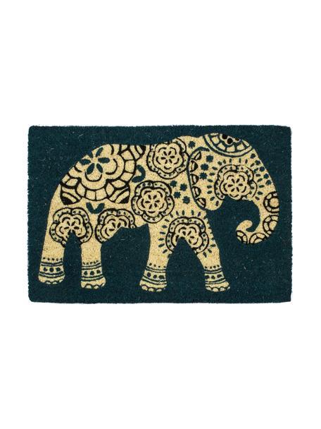 Deurmat Elephant, Bovenzijde: kokosvezels, Onderzijde: kunststof (PVC), Petrolkleurig, beige, zwart, 40 x 60 cm