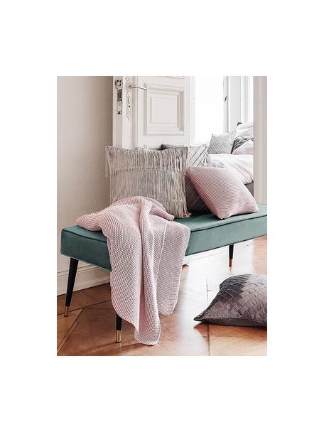 Fluwelen zitbank Beverly, Bekleding: fluweel (polyester), Frame: eucalyptushout, Poten: gepoedercoat metaal, Turquoise, 110 x 46 cm