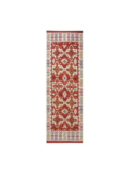 Ręcznie tkany chodnik kilim z wełny Ria, 100% wełna Włókna dywanów wełnianych mogą nieznacznie rozluźniać się w pierwszych tygodniach użytkowania, co ustępuje po pewnym czasie, Czerwony, odcienie kremowego, brązowy, S 80 x D 250 cm