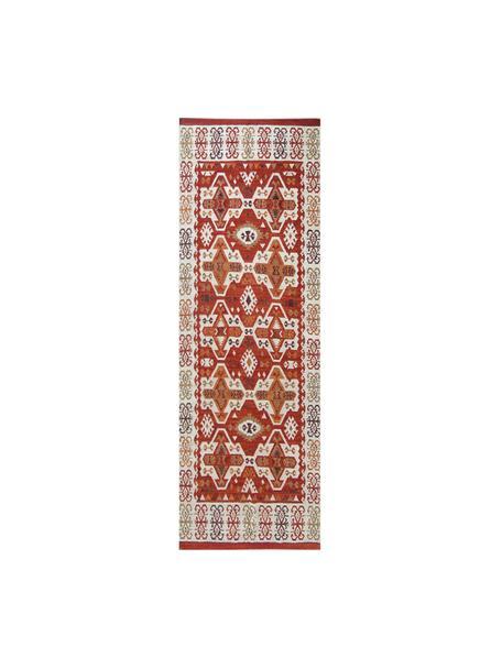 Ręcznie tkany chodnik/kilim z wełny Ria, 100% wełna Włókna dywanów wełnianych mogą nieznacznie rozluźniać się w pierwszych tygodniach użytkowania, co ustępuje po pewnym czasie, Czerwony, odcienie kremowego, brązowy, S 80 x D 250 cm