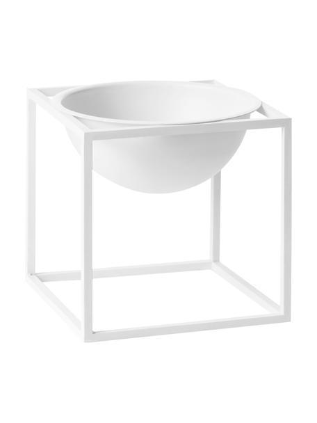 Design schaal Kubus, Gelakt staal, Wit, 14 x 14 cm