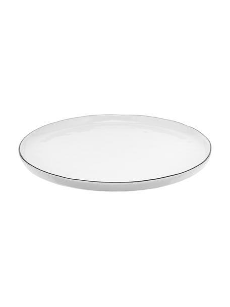 Handgemachte Frühstücksteller Salt mit schwarzem Rand, 4 Stück, Porzellan, Gebrochenes Weiss, Schwarz, Ø 22 cm