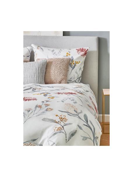 Set lenzuola in raso di cotone con motivo floreale Evie, Stampa floreale, bianco, 240 x 300 cm + 2 federe 50 x 80 cm