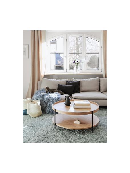 Mesa de centro grande de madera Renee, Tablero: tablero de fibras de dens, Estructura: metal con pintura en polv, Fresno, Ø 90 x Al 39 cm
