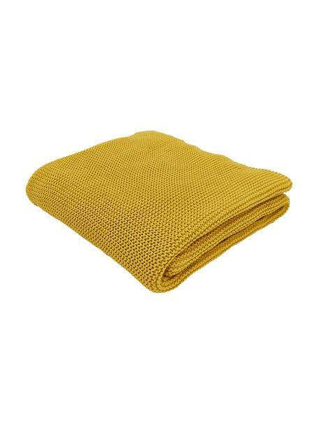 Coperta fatta a maglia color giallo senape Adalyn, 100% cotone, Giallo, Larg. 150 x Lung. 200 cm