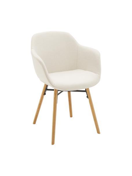 Armlehnstuhl Fiji mit Holzbeinen, Bezug: Polyester Der hochwertige, Beine: Massives Eichenholz, Sitzschale: Cremeweiß Beine: Eichenholz, B 59 x T 55 cm