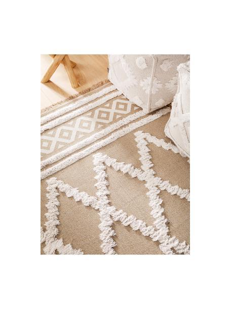 Wasbaar katoenen vloerkleed Oslo Karo met hoog-laag patroon en franjes, 100% katoen, Taupe, crèmewit, B 75 x L 150 cm (maat XS)