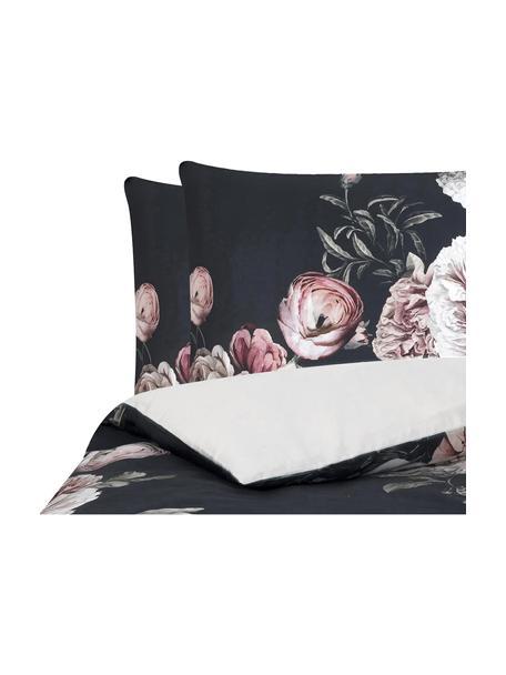 Parure copripiumino in raso di cotone Blossom, Nero, 255 x 200 cm + 2 cuscini 50 x 80 cm