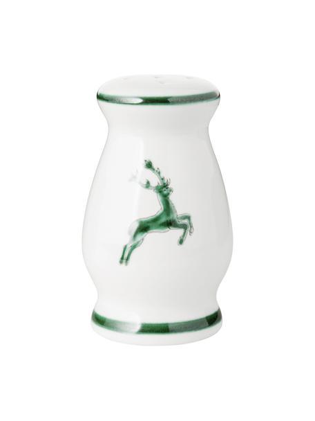 Handbeschilderde zoutstrooier Gourmet Green Deer, Keramiek, Groen, wit, H: 9 cm